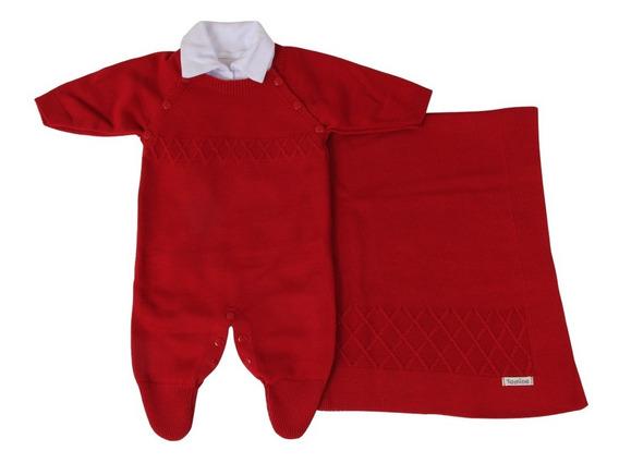 Saída De Maternidade Menino Vermelho Tricô Luxo 3 Peças