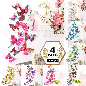4 Kits 48 Borboletas 3d Decorar Parede Quarto Sala Asa Dupla
