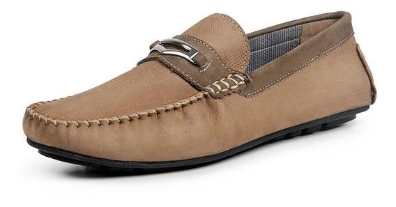 Sapato Mocassim Masculino Calprado Casual Em Couro Legitimo