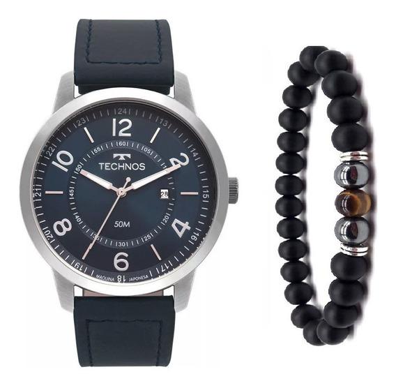 Relógio Technos Masculino 2115mst/0a Couro Azul + Pulseira