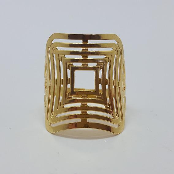 Anel Dourado Quadrado Vazado