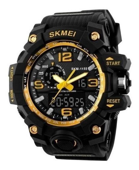 Relógio Masculino Dourado E Preto Skmei