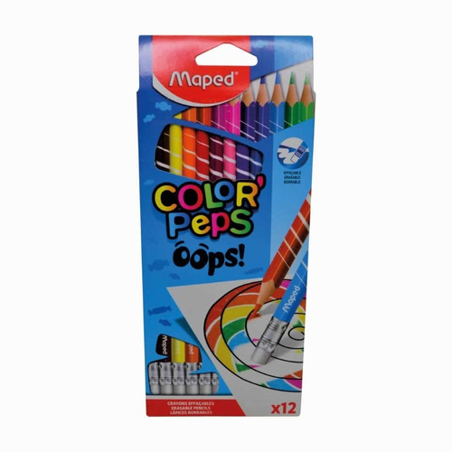 Imagen 1 de 4 de Lapices De Colores Borrables Maped Color Peps Oops! X12 Edu