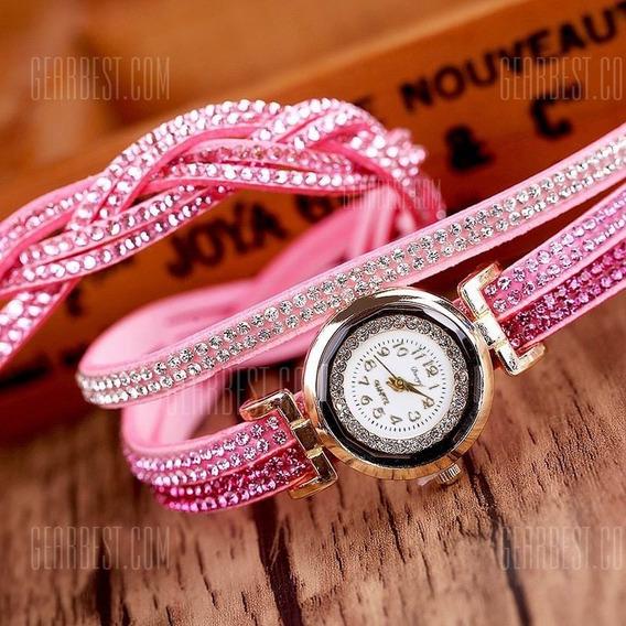 Relógio Feminino Duoya Pulseira Tripla - Rosa