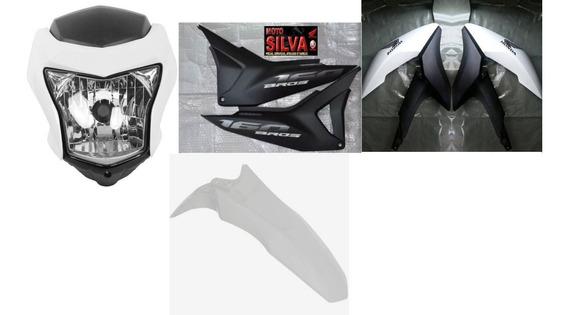 Kit Plasticos Carenagem Abas Farol Bros 160 Preto Branco