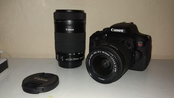 Câmera Canon Eos Rebel T6i + Lente 18-55mm + Lente 55-250mm
