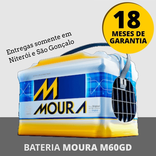 Bateria Moura 60ah M60gd - Entrega Grátis Niterói