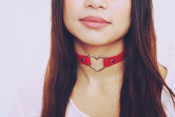 Choker Cuero Collar Flick Mujer Gargantilla Corazon Acero