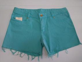 Shorts Feminino Sarja Barra Desfiada Verde -cod-1812 Promção