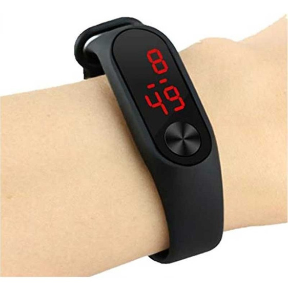Relógio Digital Esportivo Bracelete Led Homem Mulher Preto
