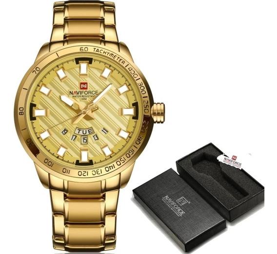Relógio Naviforce 3atm Dourado Masculino Lançamento