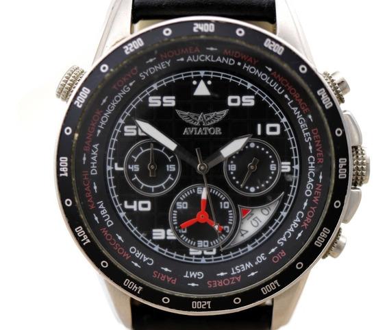 Relógio De Pulso Aviator Segundeiro Pulseira Couro B4189