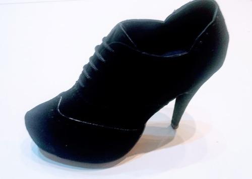 Zapatos Mujer Cordón Gamuza Taco Alto Plataforma Escondida