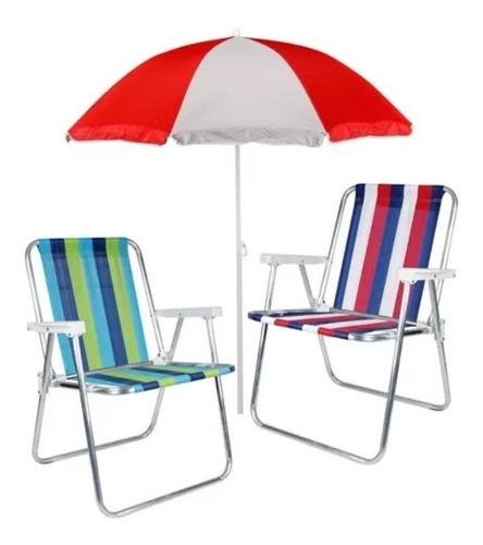Kit 2 Cadeira Para Praia + Guarda Sol Articulado 1,80m