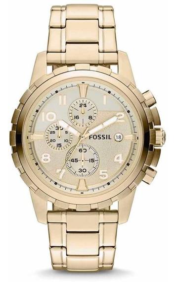 Reloj Fossil Nuevo Caballero Dorado Dean Original Fs4867