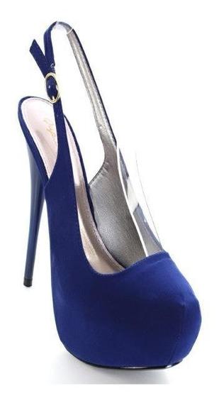 Zapatos Peep Toe Terciopelo Plataforma Imp. Usa