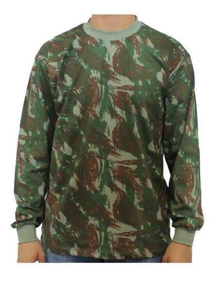 Camiseta Camuflada Manga Longa Militar Exército Pesca Caça
