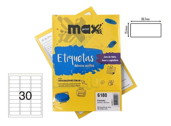 Caixa De Etiquetas 6180 Com 100 Folhas 30etiq/folha Maxprint