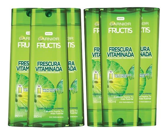 Pack 3 Shampoo +3 Acondicionador Frescura Vitaminada Fructis