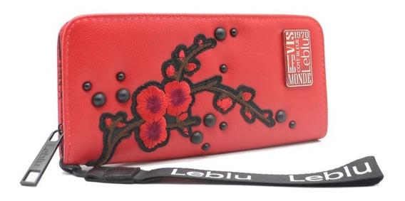 Billetera Fichero Mujer Cuero Ecologico Cherry Leblu B984