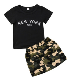 Conjunto De Menina Verão Curto Infantil Militar Fashion