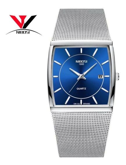 Luxo Nibosi Relógios Quadrados Para Mens Relógios Casal Reló