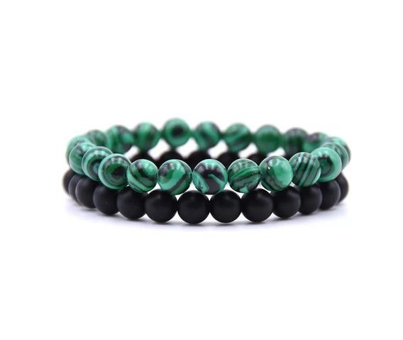 Combo 2 Pulseiras Masculinas Preto Fosco Verde Pedra Natural