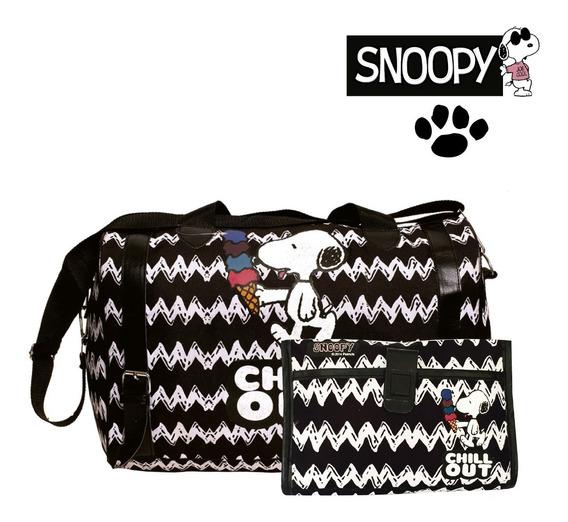 Bolso Snoopy + Portacosmetico Vuelta Al Cole 100% Original