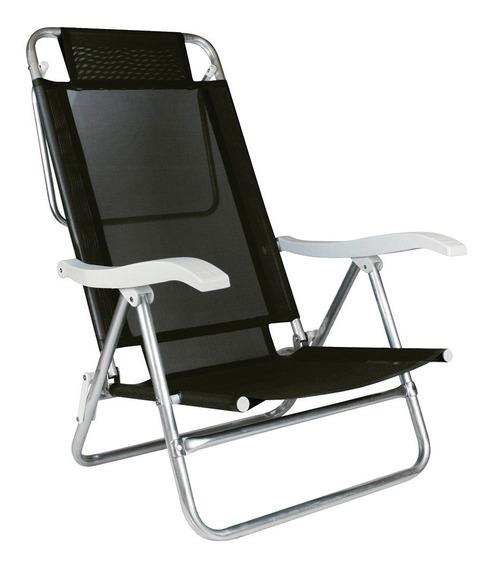 Cadeira De Praia Rec6 Posições Banho De Sol Summer Preta Mor
