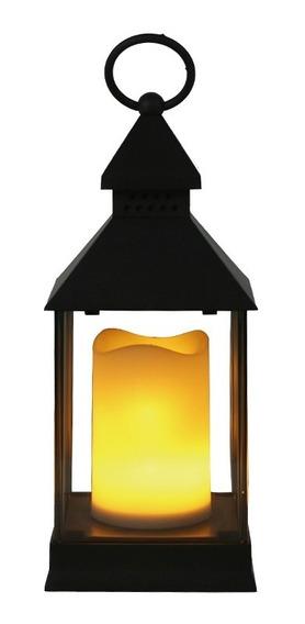 Lanterna Vela Artificial Led Luminária Efeito Fogo Preta