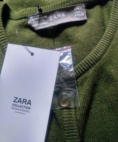 Sueter Verde Olivo Zara Tgde Nuevecito. Rebajadisimo.