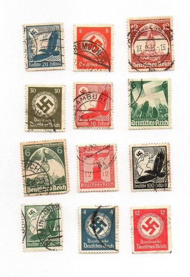 12 Estampillas Alemania Nazi Precio Por Todas
