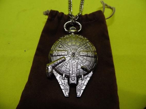 Reloj De Bolsillo Star Wars Halcon Milenario *original*