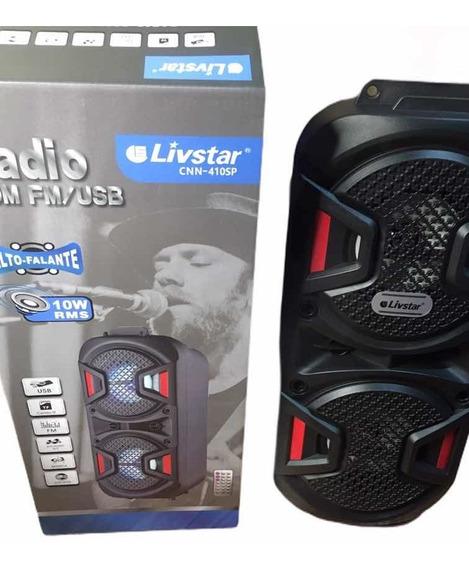 Caixa De Som Bluetooth Rádio Fm Micro Sd Controle Livstar