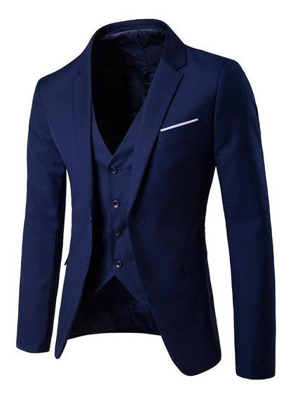 Traje Entallado Slim Fit + Chaleco + Camisa + Corbata
