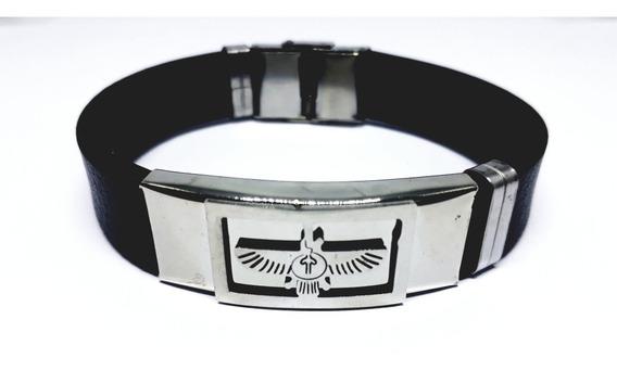 Pulseira Bracelete Masculino Silicone Placa Aço Inox