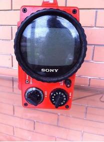 Tv Antiga Sony Antiguidade Funcionando Vermelha Vintage
