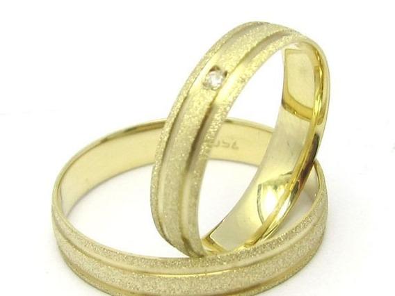 Par Alianças Ouro 18k 750 Fosca Diamante 5 Gramas 4mm Canais