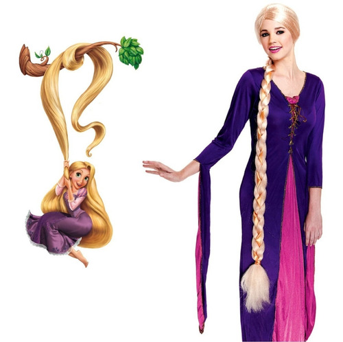 ¡ Peluca Princesa 120cm Trenza Rubio Rapunsel Halloween !!