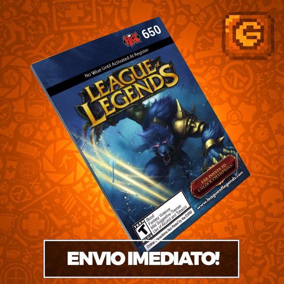 League Of Legends Lol - Cartão 650 Riot Points Rp Br Brasil
