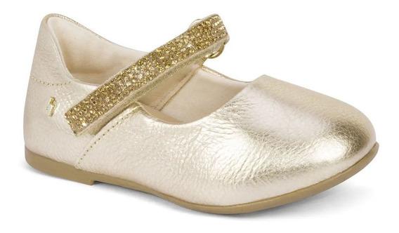 Sapatilha Infantil Feminina Bibi Dourada Anjos Joy