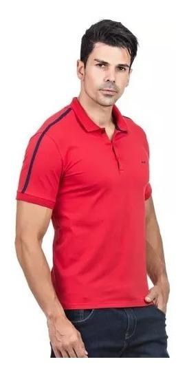 Kit Polo Vermelha Lisa E Polo Listrada Preta