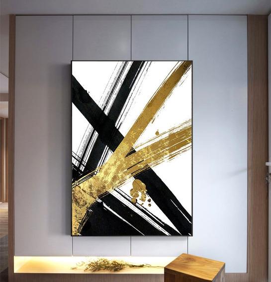 Quadro Abstrato Gold Preto E Branco