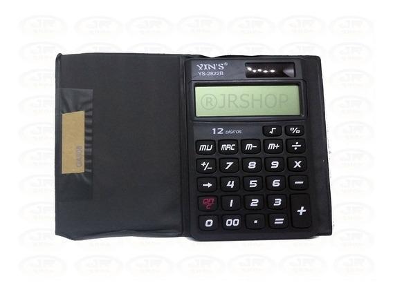 Calculadora Eletrônica 12 Dígitos De Bolso C/ Capa Protetora