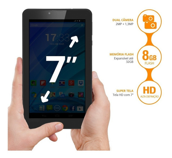 Tablet Multilaser M7s Plus Quad Core Camera Wi-fi 1gb De Ram