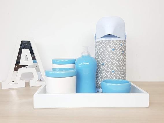 Kit Higiene Bebe Porcelana Azul Bebê Garrafa Capa Cinza