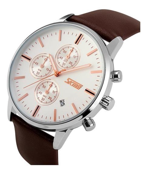 Relógio Skmei 9103 Quartz Masculino Militar Visor Branco