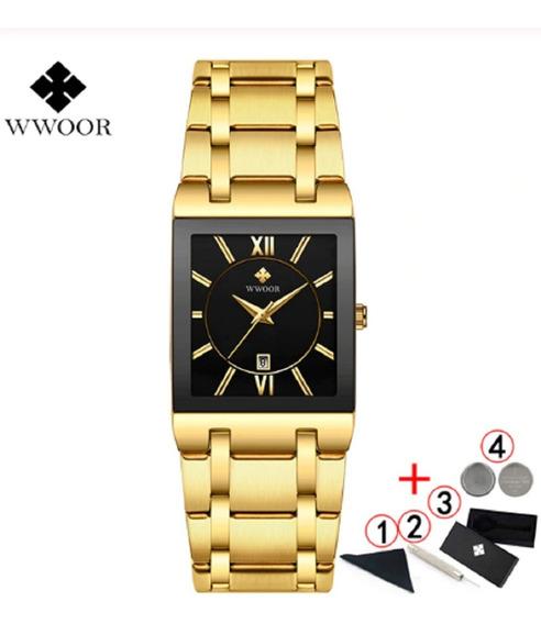 Wwoor Lindo Relógio Masculino Dourado Moda 2020