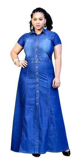 Vestido Feminino Moda Evangélica Jeans Leve Longo Barbara
