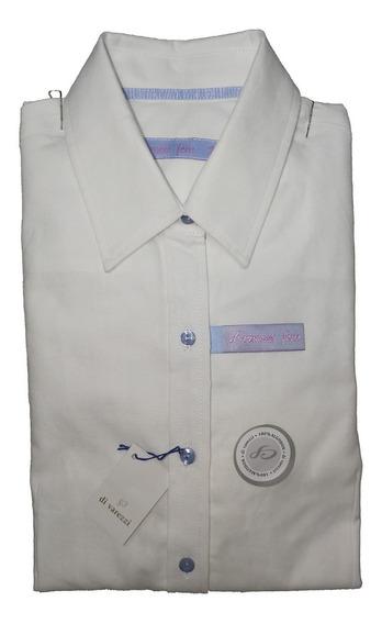 Camisa Dama Di Varezzi Algodón Oxford Blanca Manga Larga